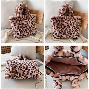 Winter New Fashion Shoulder Bag Red Brown Leopard Women Hand Bag Plush Handbag Gold Chain Messenger Bag Winter Soft Warm Fur Bags BED3356
