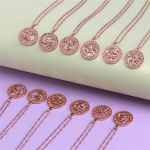 1 PC Vintage 12 Constellation Necklace Rose Gold Filled Womens Men Round Shaped Necklaces Fashion Jewelry Dropship New Arrival