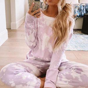Nuove donne Sport Sport Set Tie-Tinto Atletico Atletica Asura Maniche lunghe Suit Autunno Inverno Gym Yoga Suit SuitPants Pantaloni TRACKSUIT SETS