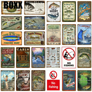 Fishing Boat Decor No Fishing Vintage Tin Signs Retro Poster Wall Decor For Lake House Cabin Fish Gift Lunkers Metal Plate