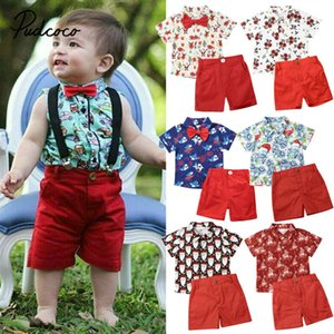 1-6y Christmas Boys Set Toddler Kid Boy Gentleman Formal Suit Cartoon Car Red Shirt Pants Xmas Outfits New Year Clothes