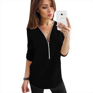 Gentillove Kadınlar 2019 Yaz Şifon Bluz Rahat Kısa Kollu Fermuar V Boyun Gömlek Kadın Artı Boyutu Blusas Tops