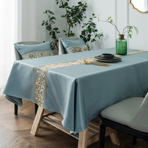 Light Luxury Classical Embroidered Table Runner Waterproof Artificial Silk Geometric Tablecloth Rectangular Coffee Table Cloth Table Cloth M