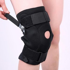New Professional Sports Safety Knee Double Plate Joint Support Knee Pads Black Men Protector For Running,Cycling,Sports.etc