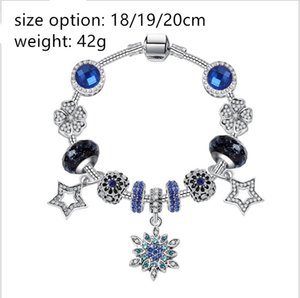 factory cheap luxury hot pando Christmas personality micro-inlaid hollow five-pointed star pendant wholesale creative blue crystal bracelets