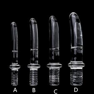 Diameter16 20 25 30mm Big Crystal Handle Glass Dildo Realistic Artifical Dildo Anal Stimulation Sex Toys Dildo For Women Glass Y201118
