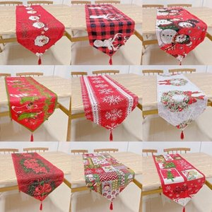 Cloth Yarn-dyed Flags Christmas Runner Flag Table Embroidered Xmas Tables Cartoon Cover Mat DHC1118