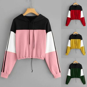 2019 Women's Autumn New Three Color Splicing Short Hooded Drawstring Sweater Hoodies Sweatshirts Set Tracksuit Sport Women Long Sleeve