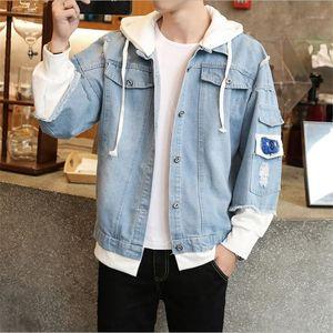 Мужские куртки Летняя весенняя мужская одежда стиль тенденции куртка ковбой повседневная Harajuku короткие и пальто карманы Chaquea Chaque1