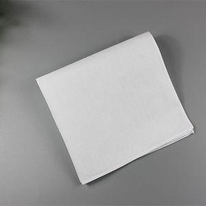 Pure Blanc Hankerchiefs 100% coton Mouchoirs Femmes Hommes 28cm * 28cm Carré de poche Square Clair bricolage Impression Dessin Hankies Bwc3932
