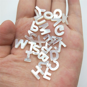 10pc 26 Capital Letter White Natural Mother Of Pearl Shell Beads Inital Letter For Bracelet&Necklace DIY Jewelry Handmade Making 201211