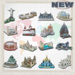 Educational Toys Famous Architecture Model 3D Jigsaw Puzzles For Adults Osaka Peles Bran Castle Las Ventas Toys For Children 201218