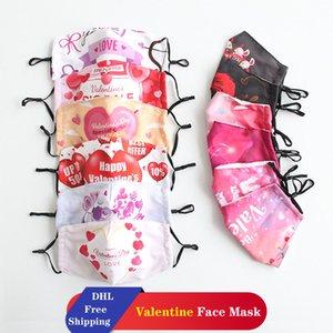 DHL Trasporto libero di San Valentino maschere di San Valentino maschere lavabili antipolvere in cotone maschere per la coppia adulta possono mettere i filtri PM2.5