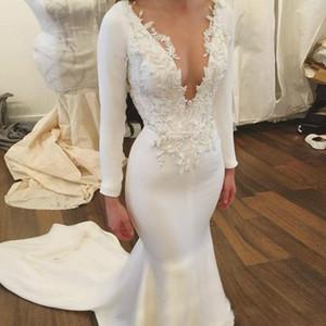 Simple White Mermaid Wedding Dresses Appliques Satin Long Sleeves Sexy Deep V Neck Long Train Vintage Bridal Gowns Beach 2018