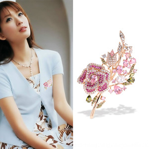 Japanese and Korean Stone pink coat New rose brooch accessories zircon brooch suit fashion shirt flower pin stone for women rkBCn