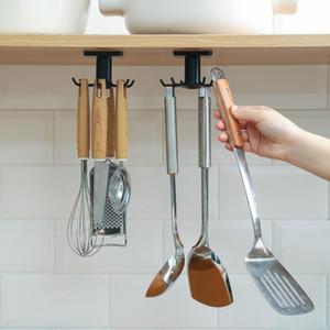 Nenhuma perfuração de ganchos de cozinha Organizador cor pura parede casa montada armazenamento prateleira girar gancho venda quente alta qualidade 3lx j2
