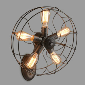 Retro Loft Style vintage Industrial fans Wall Lamp With 5 Head E27 Edison bulb 110 220V Wall fan lighting For home