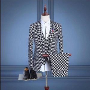 Men Suit Three - Piece Printing Lattice Suit Wedding Dress Korean Slim Dress Singer Stage Costumes Spring And Autumn