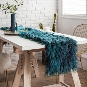 European Luxury Wool Table Runner Long Shaggy Fuzzy Fur Faux Elegant Table Flag Dining Banquet Table Runners Wedding Party Decor jllRVX