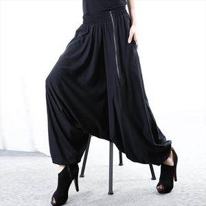 5XL ZANZEA Women Baggy Solid Drop Crotch Zip Black Gothic Wide Leg Pants Long Harem Pants Pockets Work Turnip Pantalon Trousers