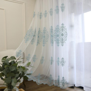 Mesh Fabric Yarn Blue European Luxury Embroidery Screens Tulle Sheer Balcony Curtains for Living Room Bedroom Finished