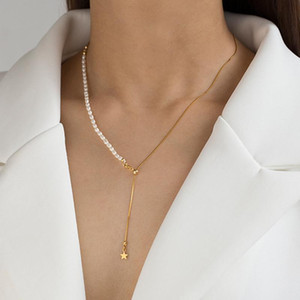 2021 New Natural Freshwater Baroque Pearl Gold Color Chain Pendant Necklace for Women Real Pearl Wedding Jewelry 38mm