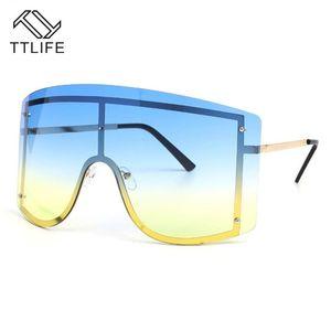 TTLIFE One Piece Oversize Mulheres óculos de sol Big Red Frame Sun Óculos Feminino Sexy Escudo Shades INS Hot YJHH0294