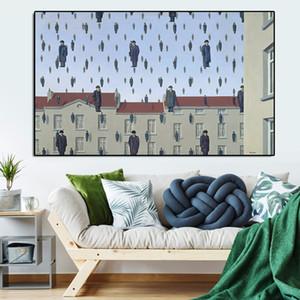 Rene Magritte Golconda 1953 Pantalla pintura al óleo de la decoración del hogar Moder Imagen cuadros de la pared para sala de estar No Frame
