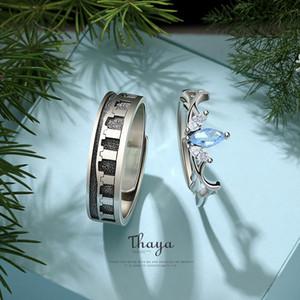 Thaya 100% Sterling Silver Open Ring Fine Jewelry Oriental Element Iris Flower Design Rings For Women Girl Luxury JewelryLJ201119