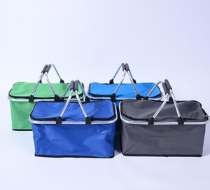 Portable Picnic Lunch Bag Ice Cooler Box Storage Travel Basket Cooler Cool Hamper Shopping Basket Bag Box HWC4113