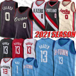 Damian 0 Lillard Basketball Jersey James 13 Harden Jerseys John 1 Carmelo Wall Anthony Jerseys Retro Vintage Hakeem 34 Olajuwon Jersey