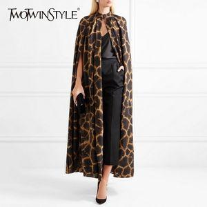TWOTWINSTYLE Female Cardigan Coat O Neck Cloak Sleeve Print Leopard Maxi Cloaks For Women Autumn Vintage Fashion Tide 201124