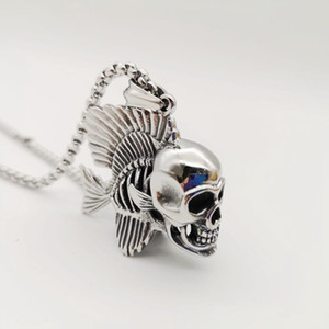 Retro 316 stainless steel hip hop Unique fish bone skull pendant necklace Gothetic Skull necklace fashion mens jewelry