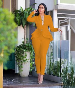 long sleeve hidden breasted peplum top+pencil pants blazer set Solid women suits office sets two piece outfits for women