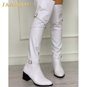 Sarairis 2021 Hot Sale Buckle Decoration INS Hot Trendy Solid High Heel Knee-High Boots Woman Shoes Comfy Knight Boot Lady