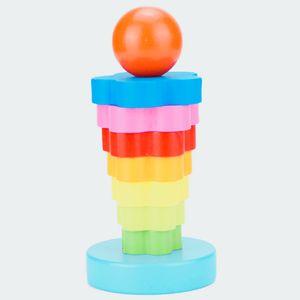 Bunter Haufen Turm LCM14 Rainbow Donut Jenga 2-3 Jahre alte Kinder Handaugen Koordination Training Spiel 0.13 Factory Direct Sales003
