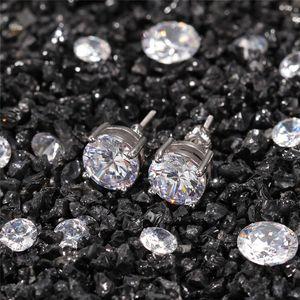 2021 Creative Cubic Zirconia Stud Earrings Hip Hop Jewelry High Quality Fashion Gold Silver Round Diamond Earring for Men Women Kimter-K14FA