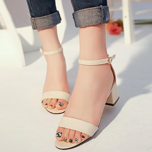 2020 New Women Gladiator Summer Sandals Woman Middle Heels Buckle Strap Wedding Office Party Ladies Shoes Promotion Europe Style