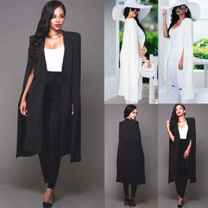 Femmes Chaud Selling Nouveau Lampe Long Blazer Blazer Cape Trench Cardigan Manteau de Cardigan Open Front Split Manute Coat Hauts