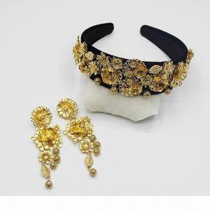 2016 new exclusive European retro Baroque Flower Headband Tiara Earrings Set 09 S919