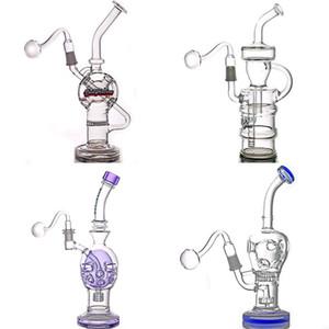 Haute Qualité DAB RIG Fab en verre de verre BONG BONG Honeycomb matrice Douche de douche PERC BUBILLER RECYCLER EAU BONG avec tuyau de brûleur d'huile en verre