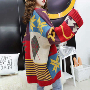 2020 Korean loose net red thick coat new knitted cardigan lazy wind autumn winter sweater print women