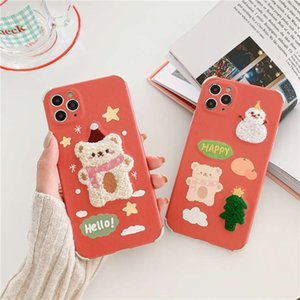 12pro Embroidered bear mobile Christmas hat phone case is suitable for 8plus straight edge and four corners fall proof 7   XS