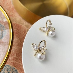 New women Golden superior quality pearl butterfly Earring S925 Silver needle Fashion Ladies Jewelry Luxury Best Gift free shipping XKS0062
