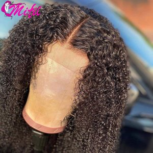 Brazilian 13x4 Kinky Curly Lace Front Wig Pre Plucked Lace Closure Human Hair Wig Remy Human Hair Transparent Frontal
