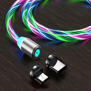 Type-C USB 빛나는 케이블 빠른 충전기 빠른 충전 라인 3ft 2A 마이크로 충전 코드 LED 흐르는 빛 마그네틱 케이블 삼성 화웨이