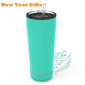 2021 Мода 18 унций Креативный Bluetooth Music Tumbler Водонепроницаемый Динамик Двойная Стена Термос Нержавеющая Сталь Портативный Кофейной Кубок Новогодний Подарок