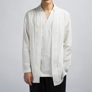 #3901 Vintage Cotton Linen Jacket Mens V Neck Black Blue White Beige Japanese Kimono Jacket Men Retro False Two Piece M-4XL