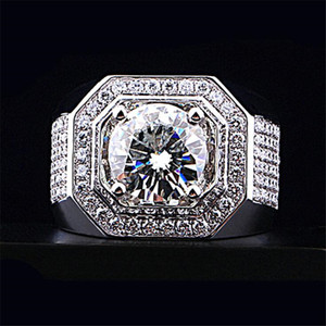 Top Sell Luxury Jewelry Male 925 Sterling Silver Round Cut White Topaz Pave CZ Diamond Gemstones Men Wedding Engagement Band Ring Gift