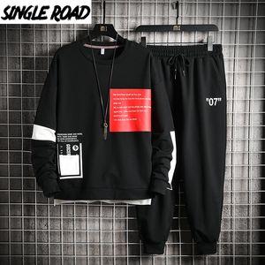 SingleRoad Men's Sportswear Tracksuit Men Hip Hop Streetwear Sweatshirts Sweatpants Hoodie Joggers Pants Sets Sport suits 201203